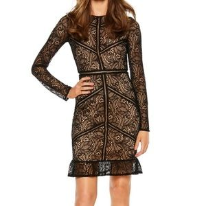 BARDOT sasha long sleeve black lace dress large